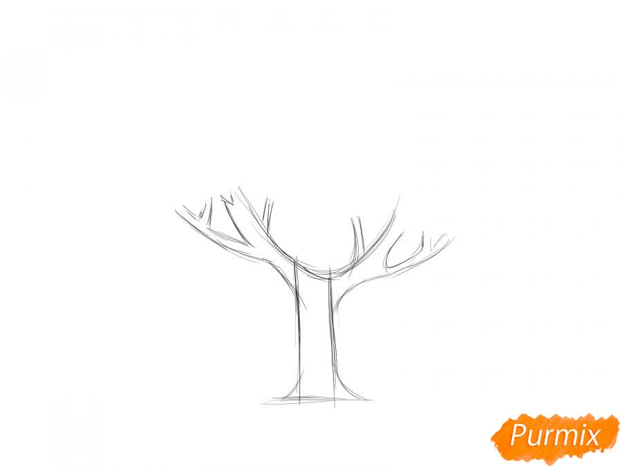 Рисуем вишневое дерево с ягодами - шаг 2