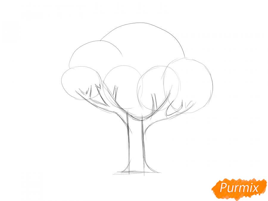 Рисуем вишневое дерево с ягодами - шаг 3