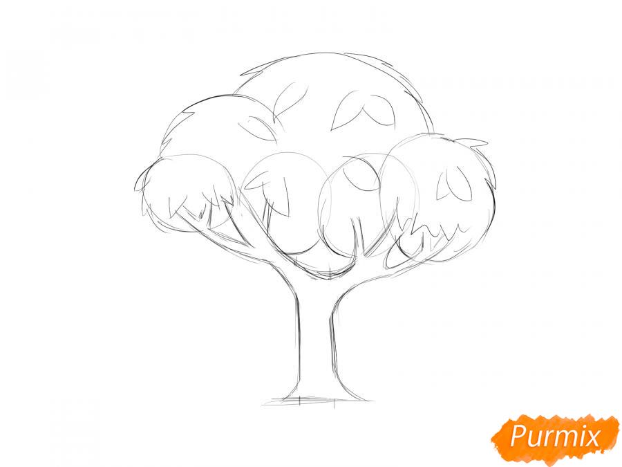 Рисуем вишневое дерево с ягодами - шаг 4