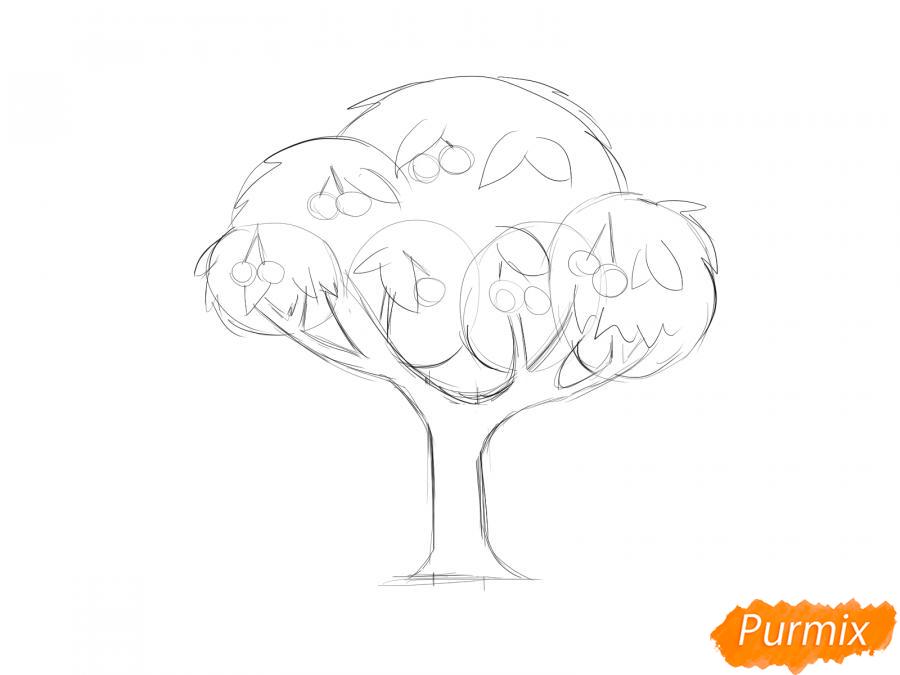 Рисуем вишневое дерево с ягодами - шаг 5