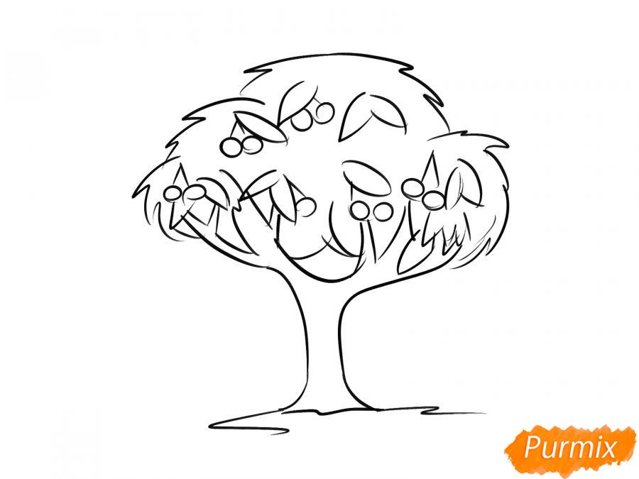Рисуем вишневое дерево с ягодами - шаг 6