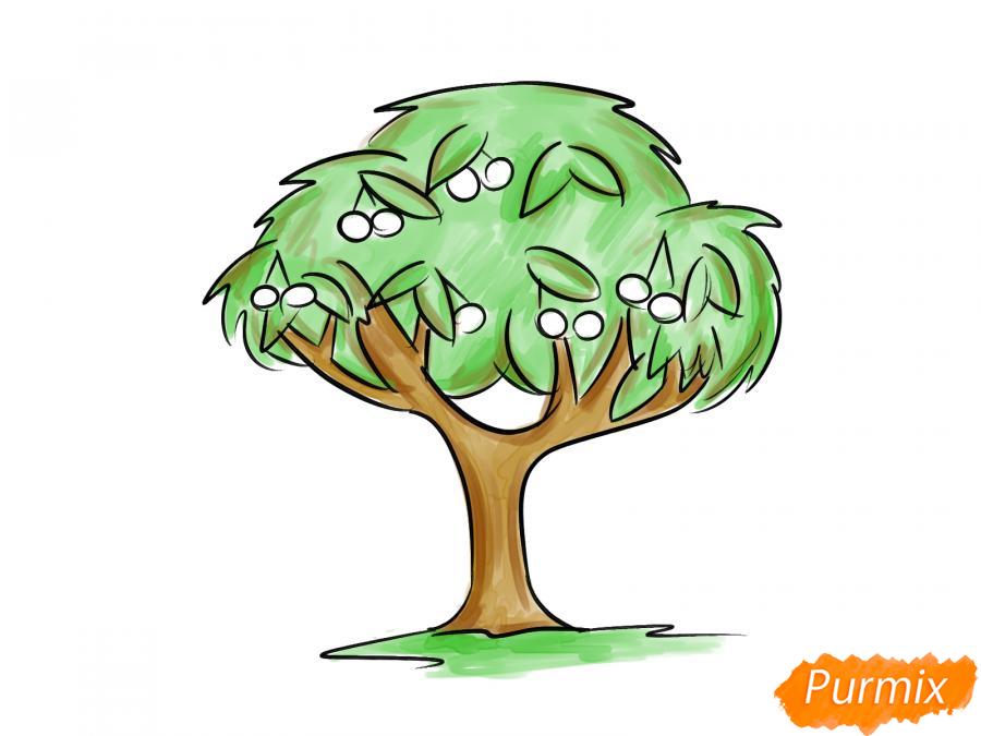 Рисуем вишневое дерево с ягодами - шаг 8