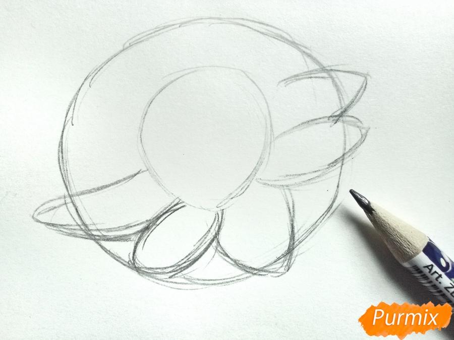 Рисуем водяную лилию карандашами - шаг 2