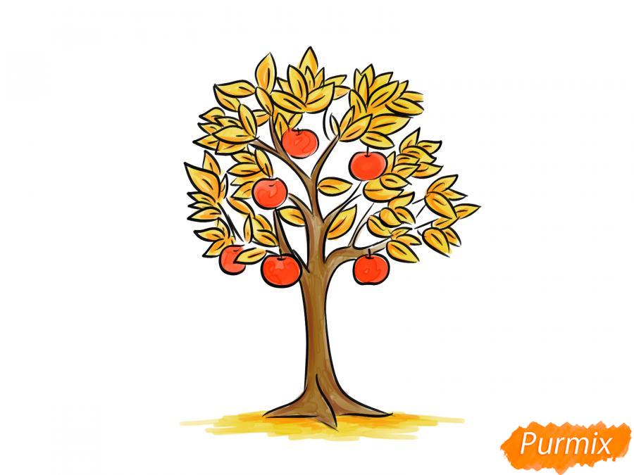 Рисуем яблоню осенью - шаг 10