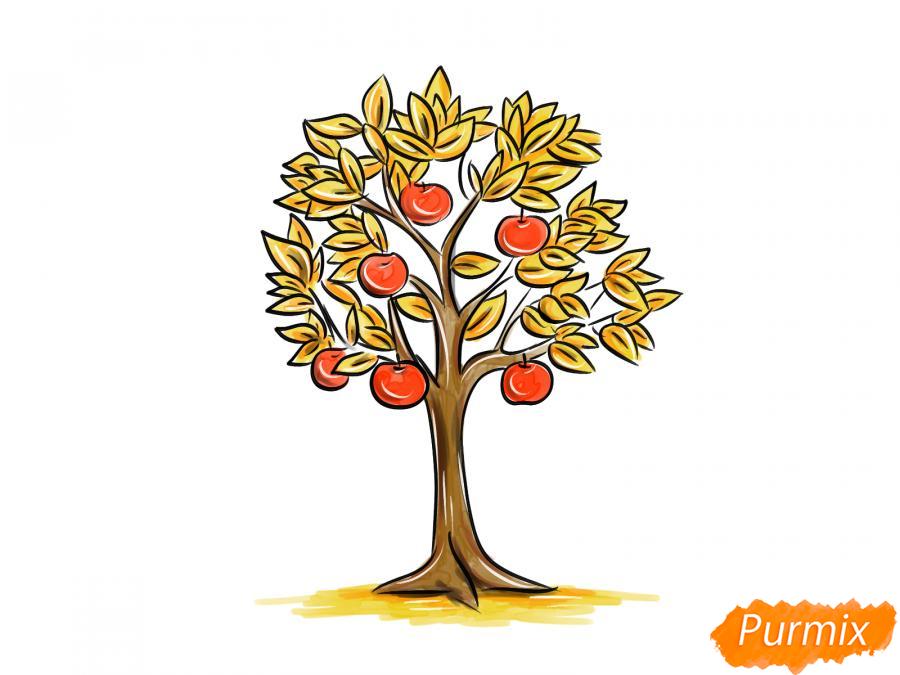 Рисуем яблоню осенью - шаг 11