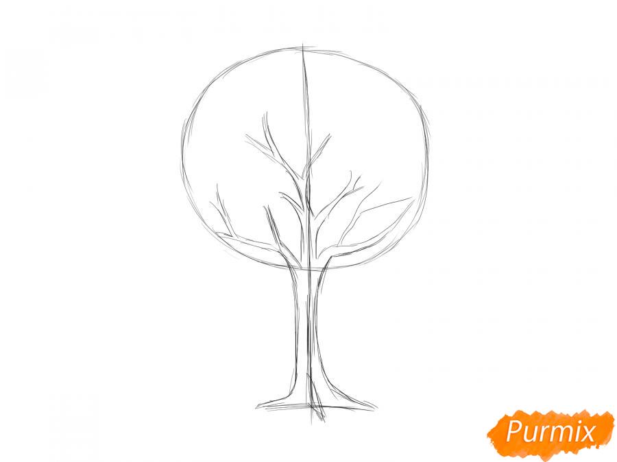 Рисуем яблоню осенью - шаг 4