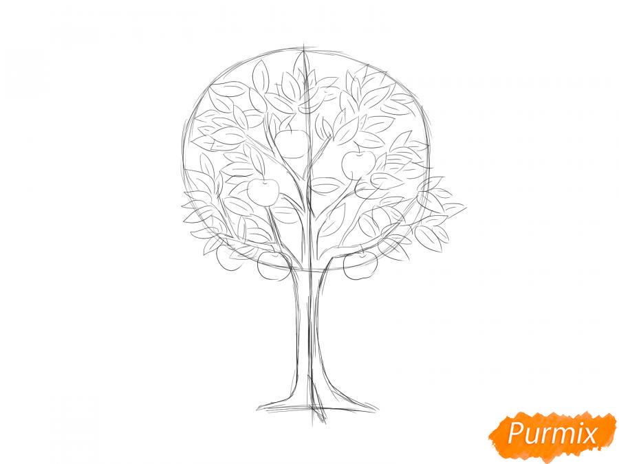 Рисуем яблоню осенью - шаг 5