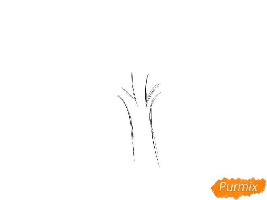 Рисуем яблочное дерево - шаг 1