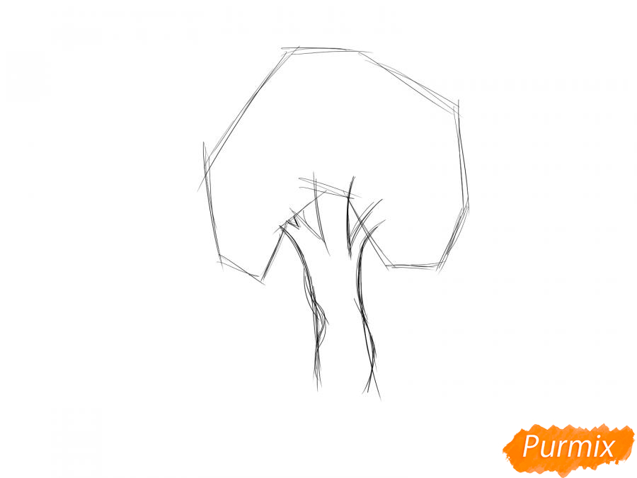 Рисуем яблочное дерево - шаг 2
