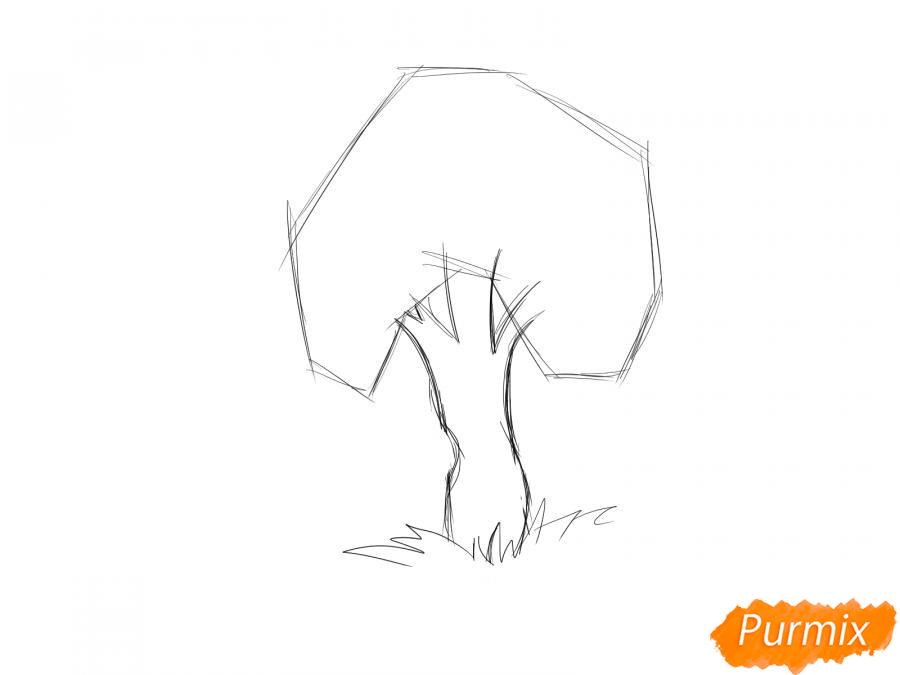 Рисуем яблочное дерево - шаг 3