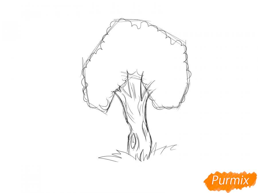Рисуем яблочное дерево - шаг 4