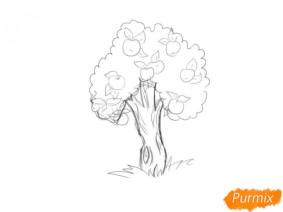 Рисуем яблочное дерево - шаг 5
