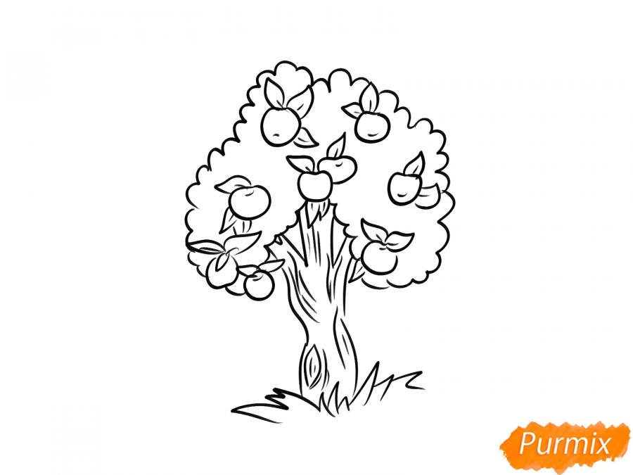 Рисуем яблочное дерево - шаг 6
