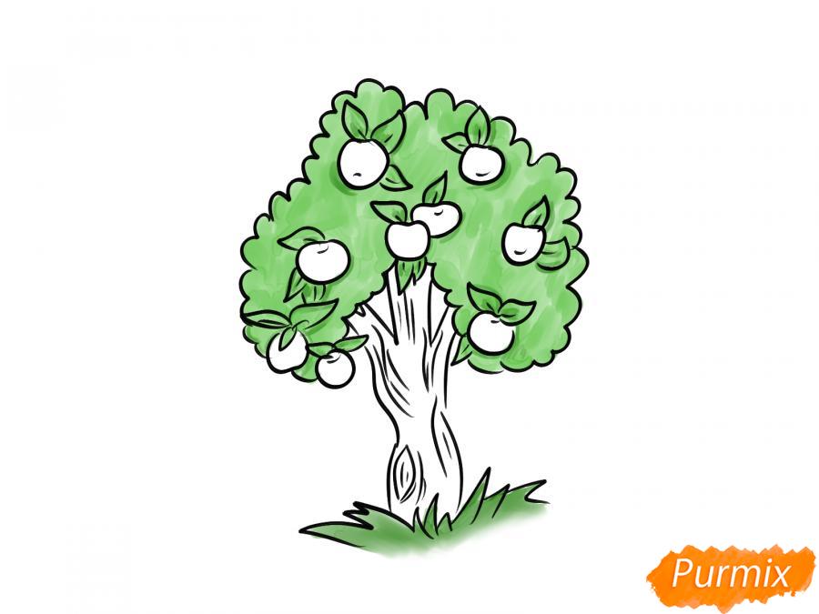 Рисуем яблочное дерево - шаг 7