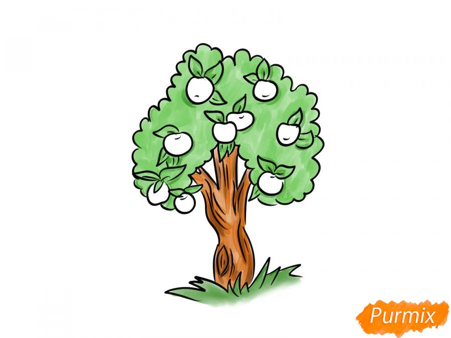 Рисуем яблочное дерево - шаг 8