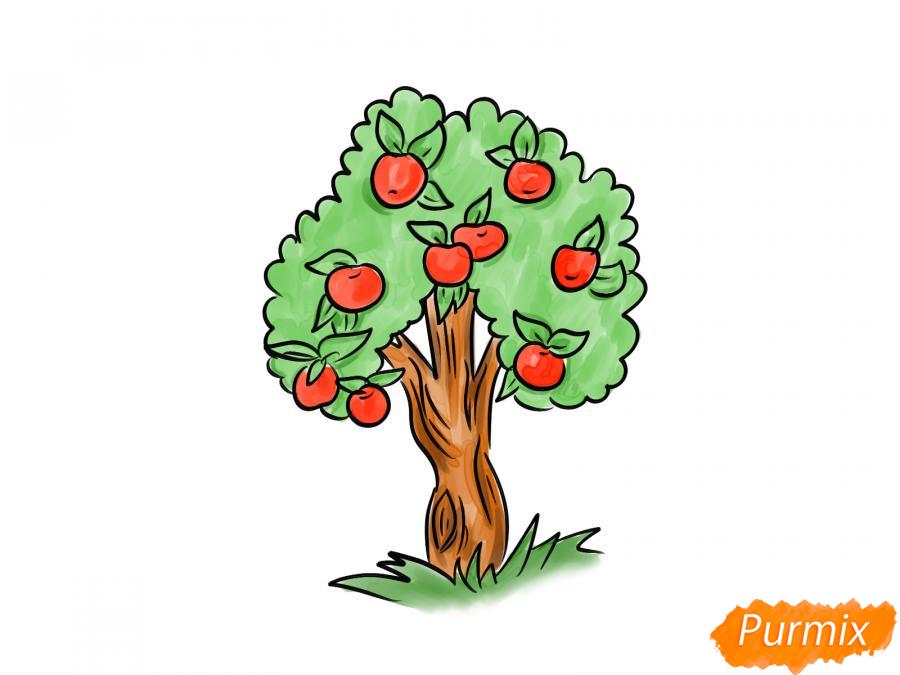 Рисуем яблочное дерево - шаг 9