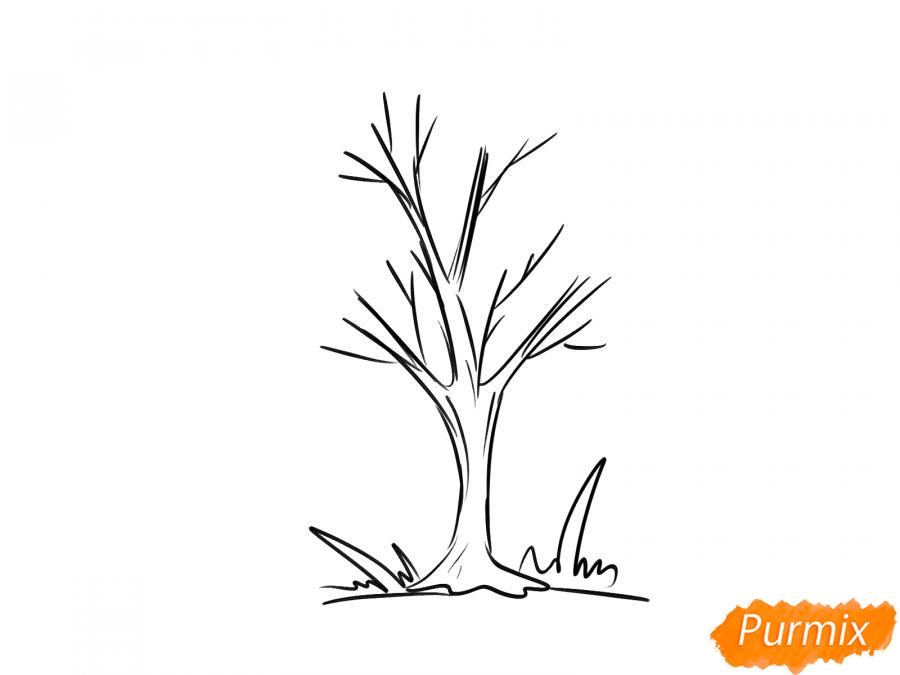 Рисуем ясень без листьев - шаг 4