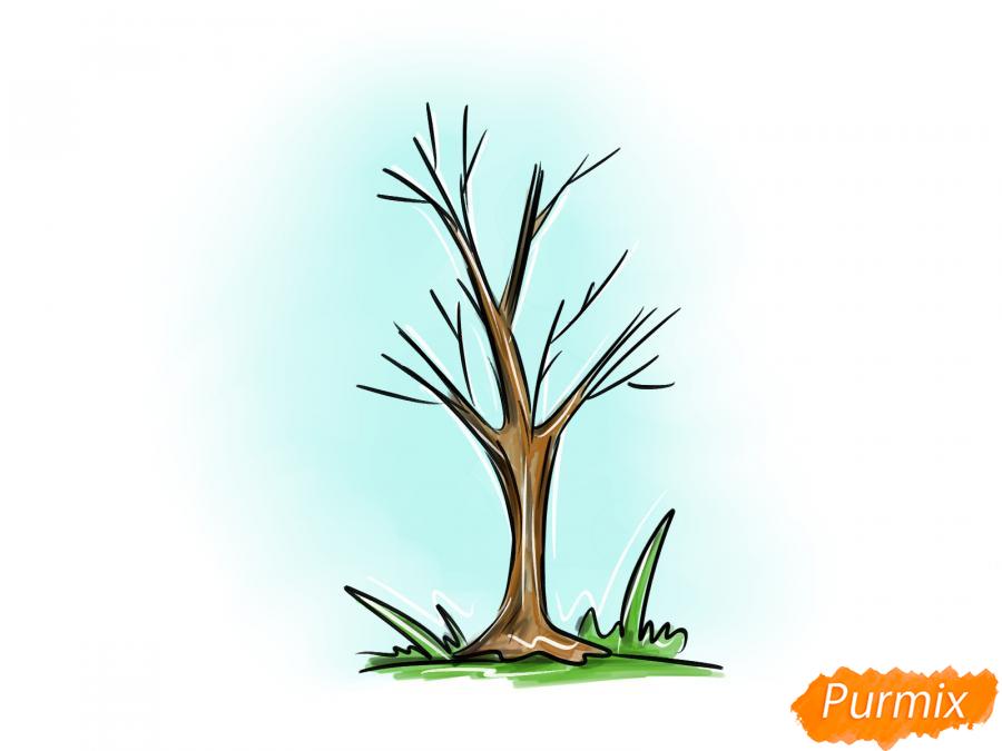 Рисуем ясень без листьев - шаг 8