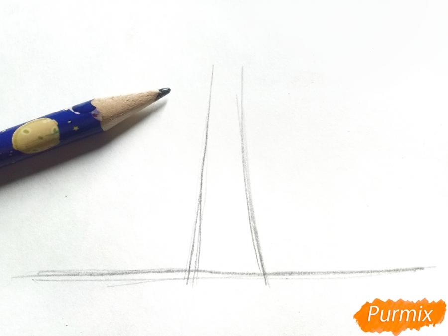 Рисуем зимнее дерево карандашами - шаг 1