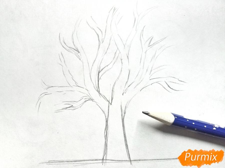 Рисуем зимнее дерево карандашами - шаг 2