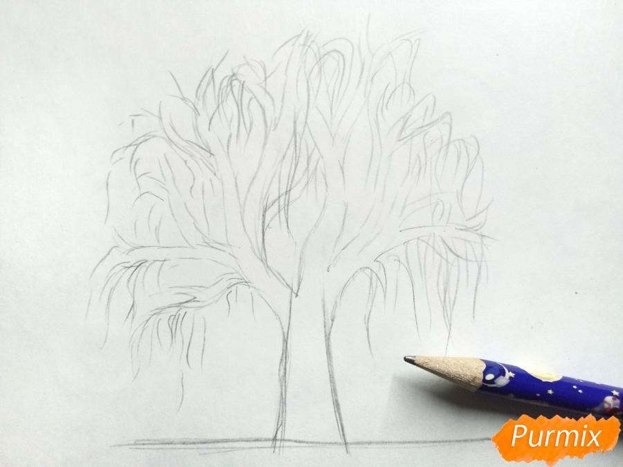 Рисуем зимнее дерево карандашами - шаг 3