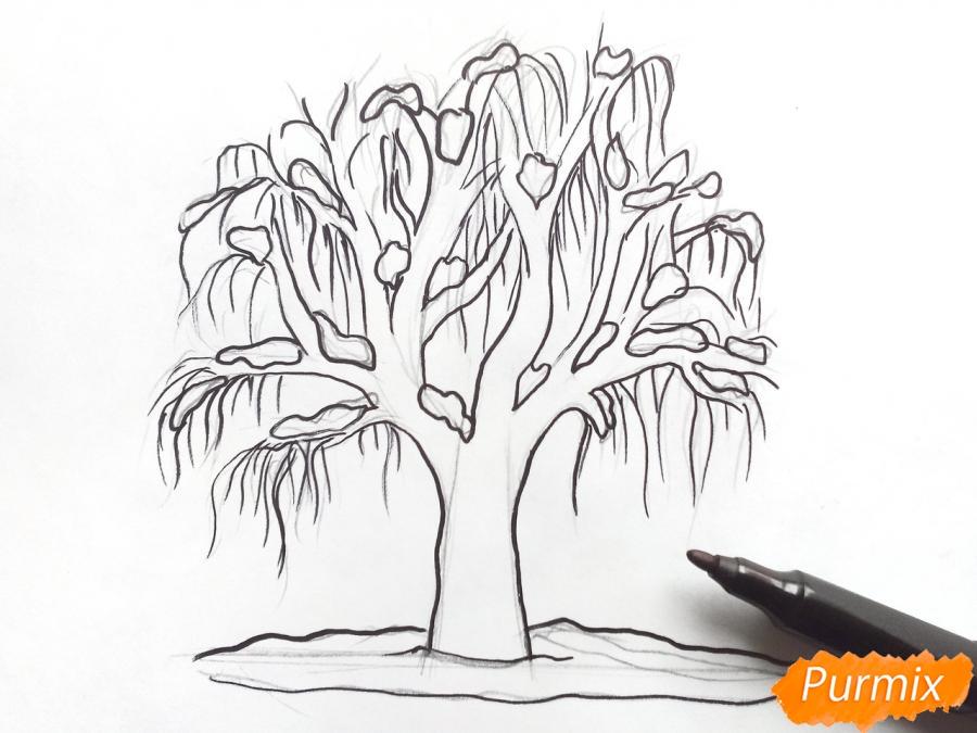 Рисуем зимнее дерево карандашами - шаг 5