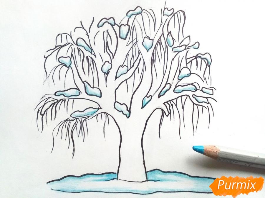 Рисуем зимнее дерево карандашами - шаг 6