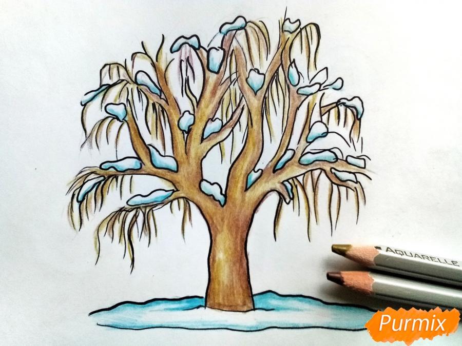 Рисуем зимнее дерево карандашами - шаг 7