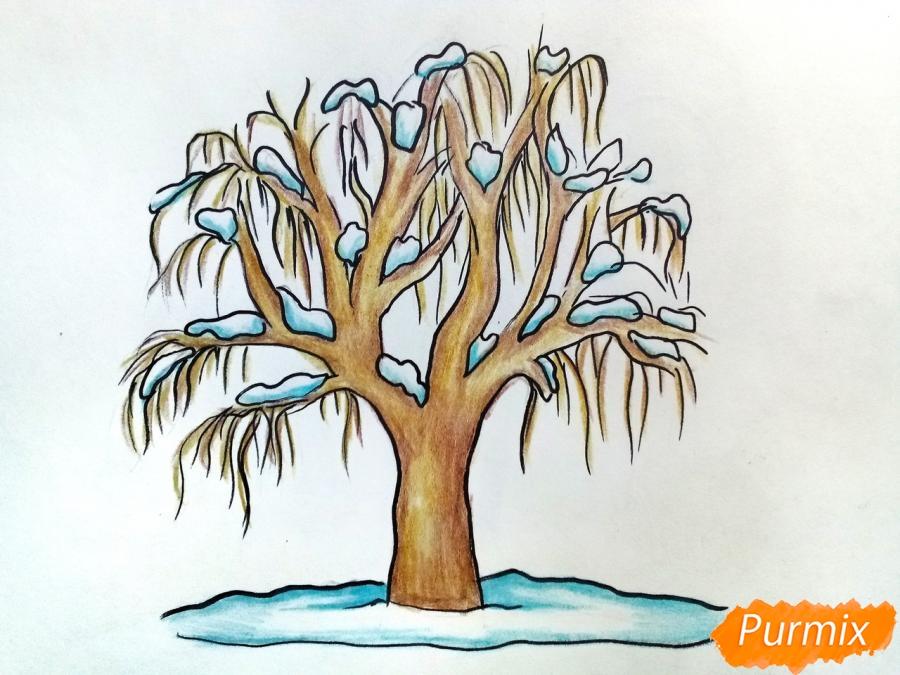 Рисуем зимнее дерево карандашами - шаг 8