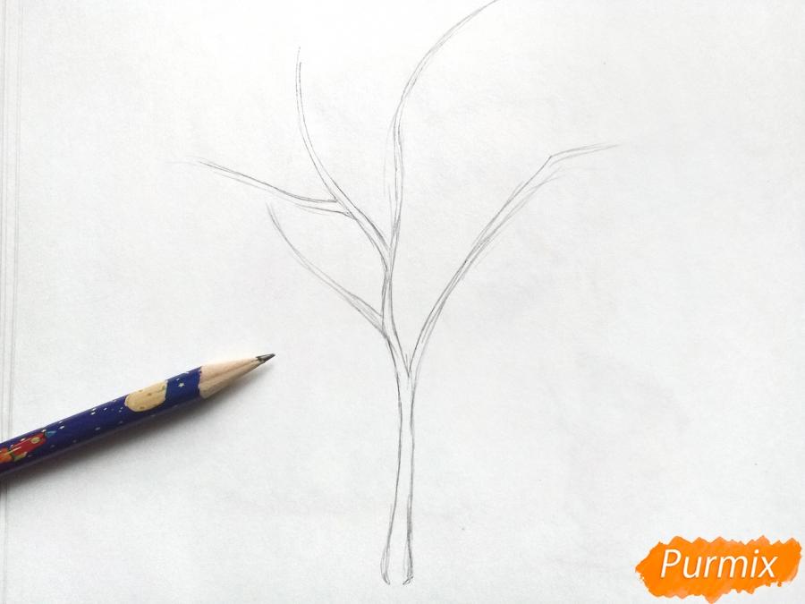 Рисуем зимнее дерево рябины - шаг 1