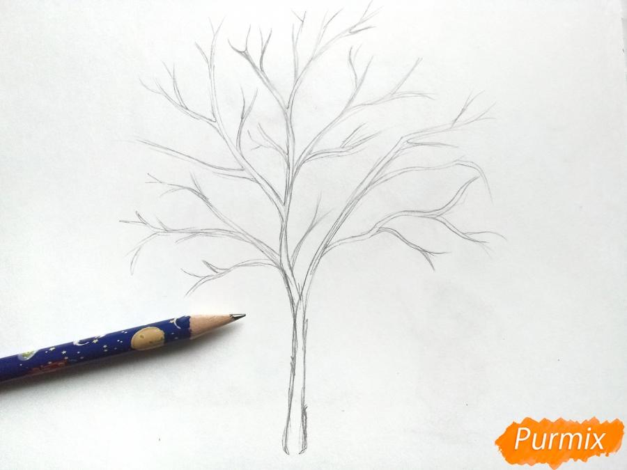 Рисуем зимнее дерево рябины - шаг 2