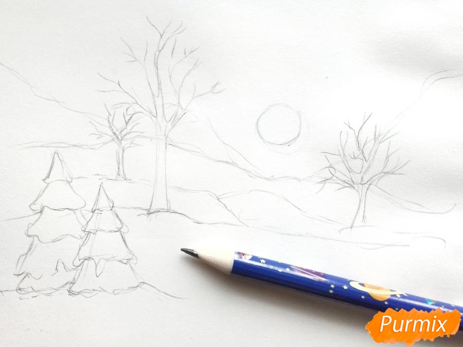 Рисуем зимнее утро, рассвет - шаг 2