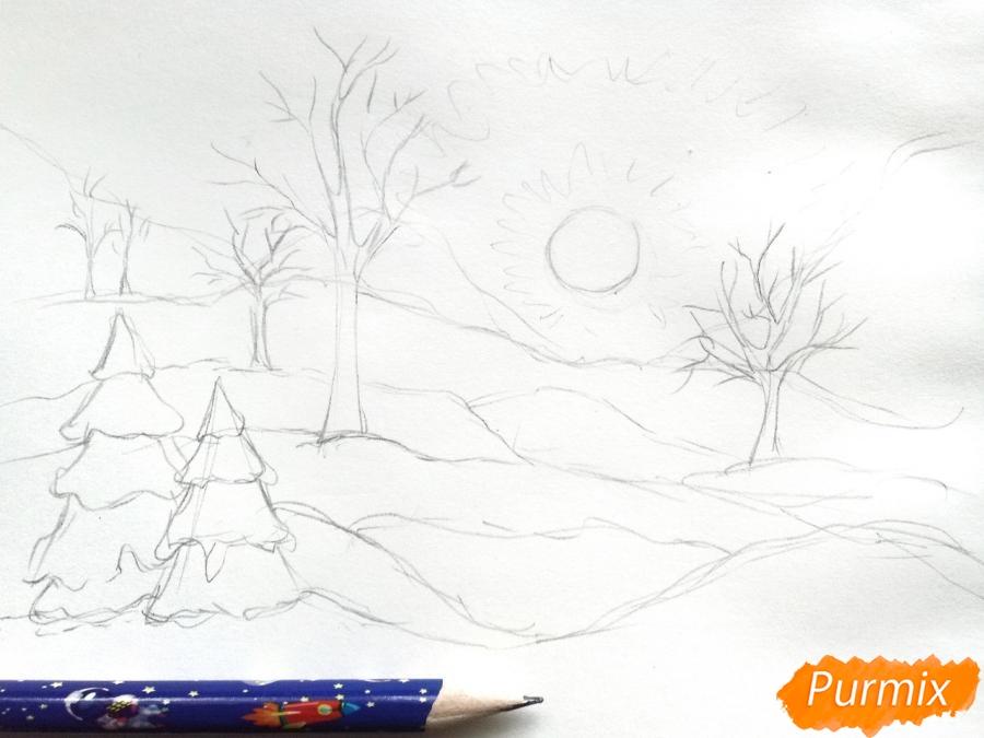 Рисуем зимнее утро, рассвет - шаг 3