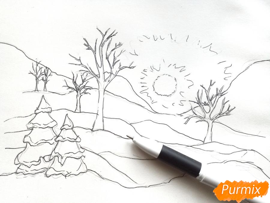 Рисуем зимнее утро, рассвет - шаг 4