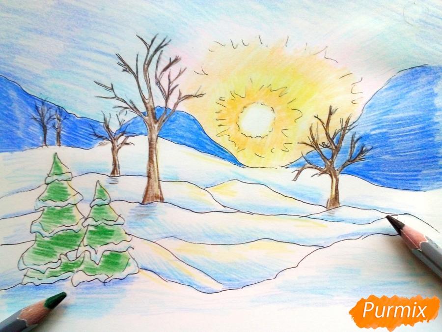 Рисуем зимнее утро, рассвет - шаг 8