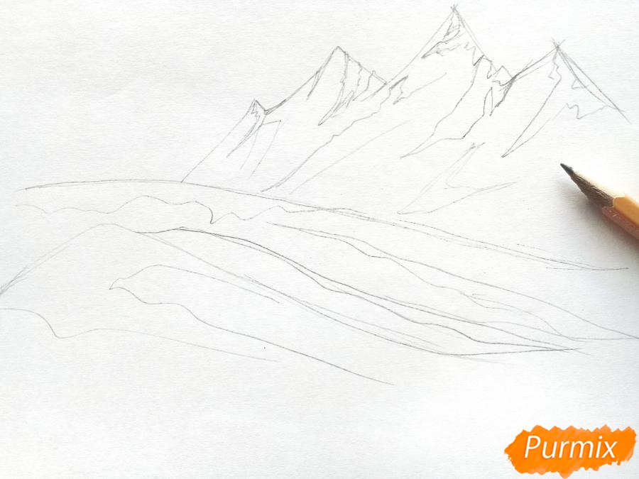 Рисуем зимний горный пейзаж мм - шаг 2