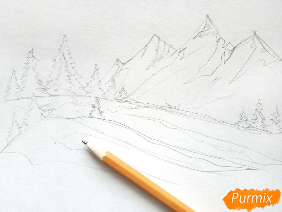 Рисуем зимний горный пейзаж мм - шаг 3