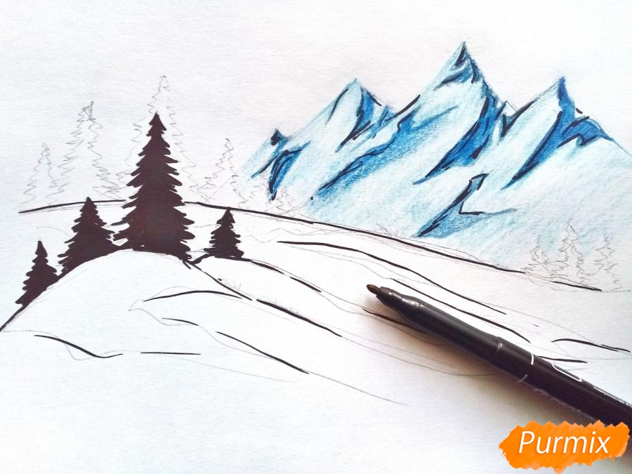 Рисуем зимний горный пейзаж мм - шаг 5