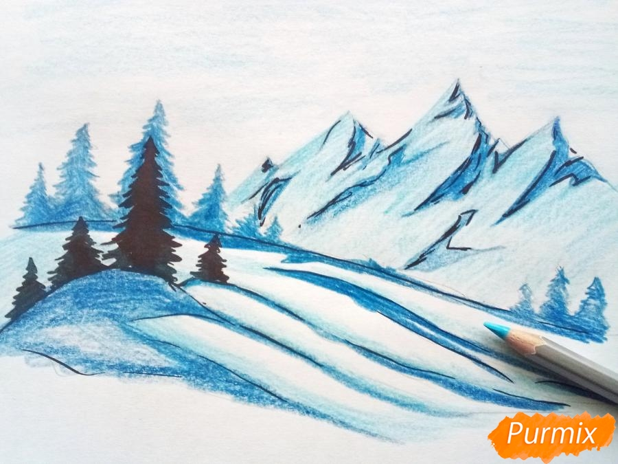 Рисуем зимний горный пейзаж мм - шаг 7
