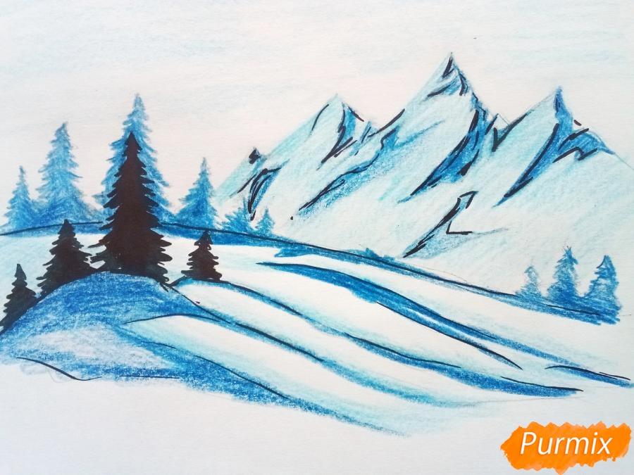 Рисуем зимний горный пейзаж мм - шаг 8