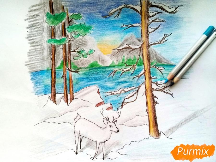 Рисуем зимний лесной пейзаж - шаг 10