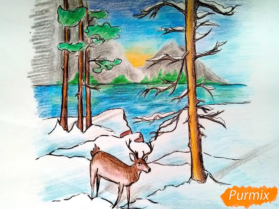 Рисуем зимний лесной пейзаж - шаг 11