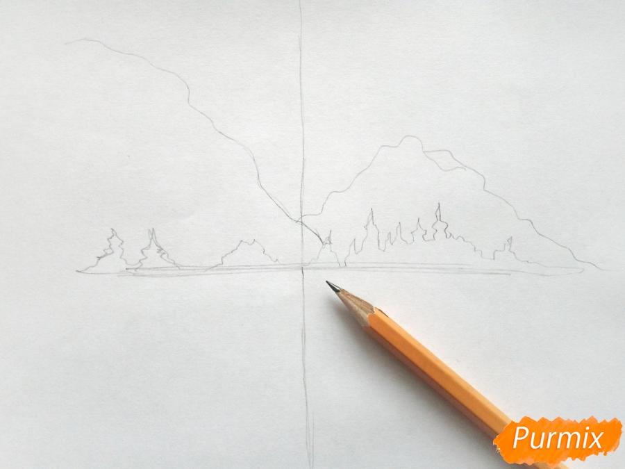 Рисуем зимний лесной пейзаж - шаг 2