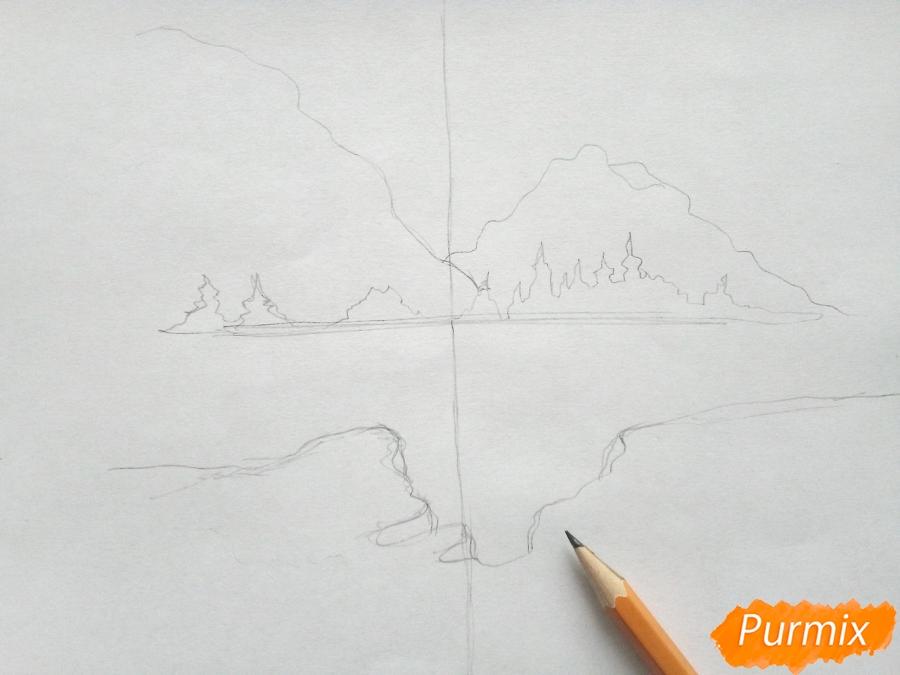 Рисуем зимний лесной пейзаж - шаг 3