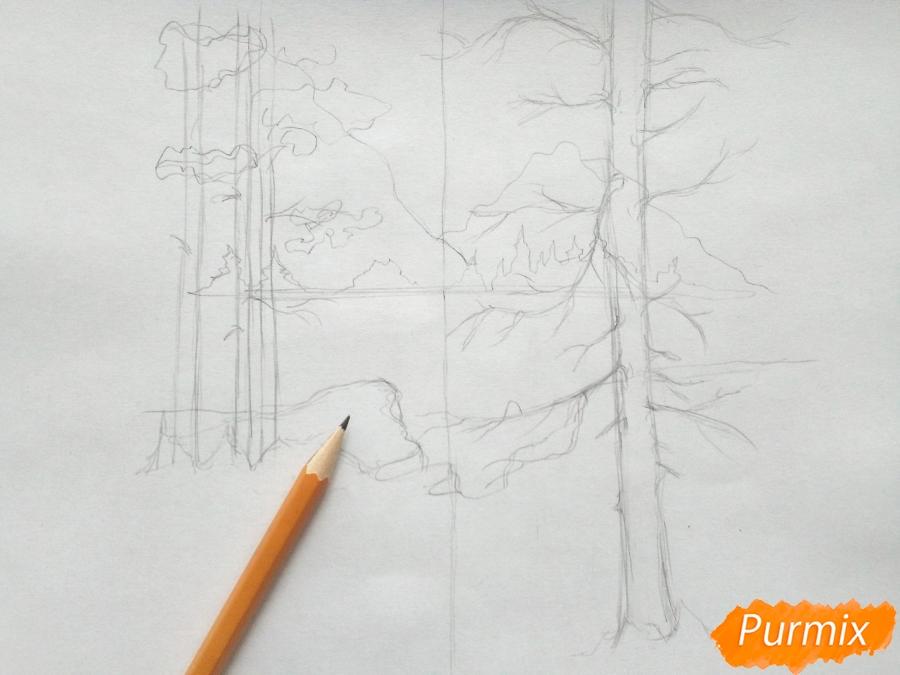 Рисуем зимний лесной пейзаж - шаг 4