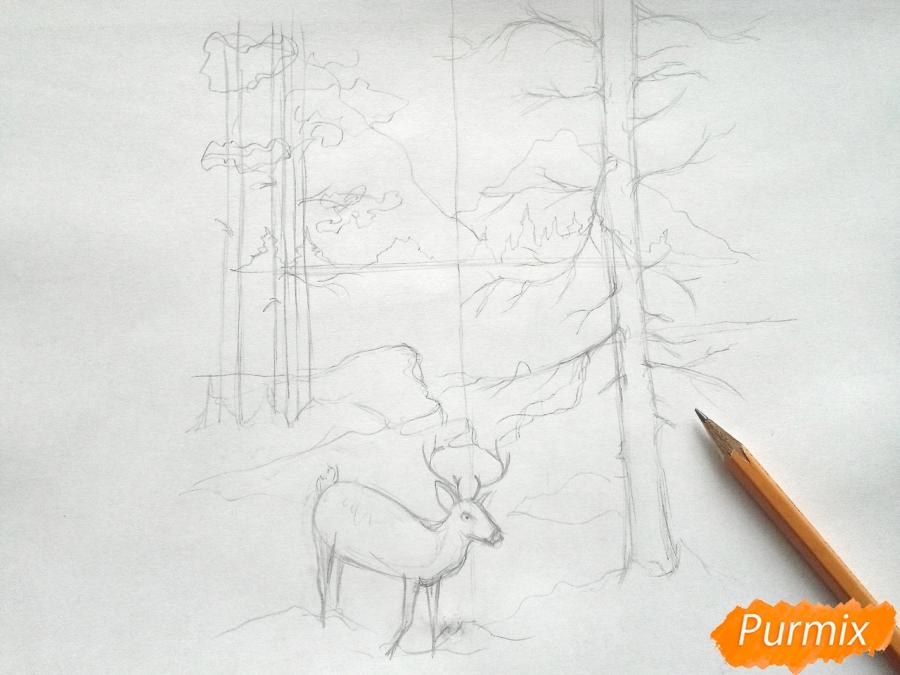 Рисуем зимний лесной пейзаж - шаг 5