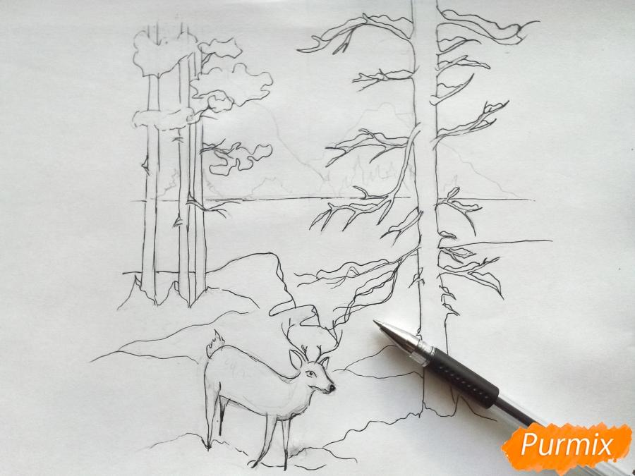 Рисуем зимний лесной пейзаж - шаг 6