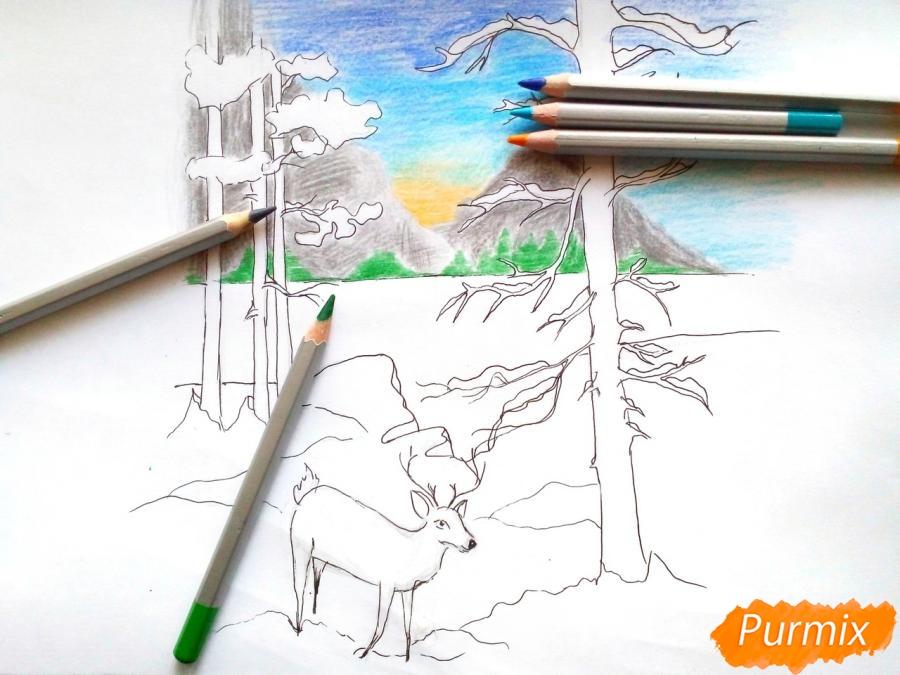 Рисуем зимний лесной пейзаж - шаг 7