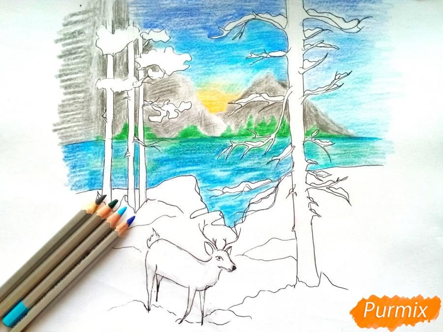 Рисуем зимний лесной пейзаж - шаг 8