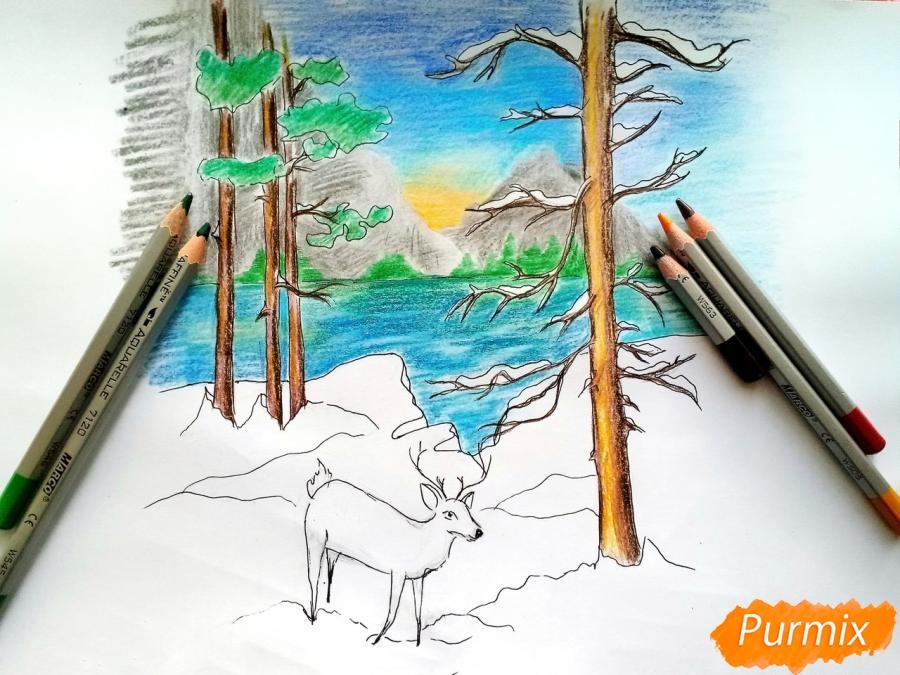 Рисуем зимний лесной пейзаж - шаг 9